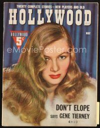 3r101 HOLLYWOOD magazine May 1942 close up of sexy Veronica Lake with peekaboo hair & fur coat!