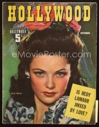 3r105 HOLLYWOOD magazine September 1942 wonderful portrait of sexy Gene Tierney!