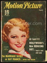 3r086 MOTION PICTURE magazine August 1933 artwork of smiling Sally Eilers by Marland Stone!