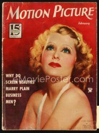 3r092 MOTION PICTURE magazine February 1934 art of sexy Lilian Harvey by Marland Stone!
