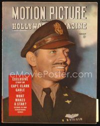 3r095 MOTION PICTURE magazine February 1944 head & shoulders portrait of Captain Clark Gable!