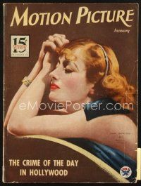 3r091 MOTION PICTURE magazine January 1934 wonderful art of young Joan Crawford by Marland Stone!