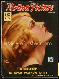 3r089 MOTION PICTURE magazine November 1933 profile art portrait of Madge Evans by Marland Stone!