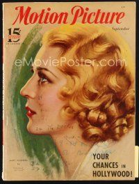 3r087 MOTION PICTURE magazine September 1933 profile art c/u of Mary Pickford by Marland Stone!