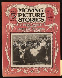3r074 MOVING PICTURE STORIES magazine May 23, 1913 The Death of Lincoln scene in The Toll of War!