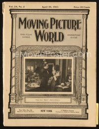 3r058 MOVING PICTURE WORLD exhibitor magazine April 10, 1915 Charlie Chaplin souvenir figures!