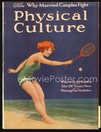 3r113 PHYSICAL CULTURE magazine July 1922 art of The Bathing Tennis Girl by Jay W. Weaver!