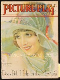 3r082 PICTURE PLAY magazine August 1928 wonderful artwork of Madge Bellamy by Modest Stein!
