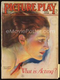 3r083 PICTURE PLAY magazine September 1928 cool art of pretty Evelyn Brent by Modest Stein!