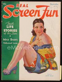 3r115 REAL SCREEN FUN magazine September 1934 full-length art of sexy Lupe Velez!