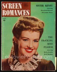 3r099 SCREEN ROMANCES magazine August 1946 head & shoulders smiling portrait of Betty Grable!