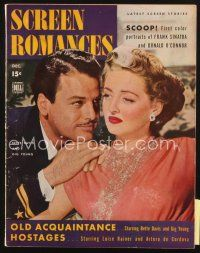 3r097 SCREEN ROMANCES magazine December 1943 great close up of Bette Davis & Gig Young!