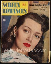 3r100 SCREEN ROMANCES magazine October 1947 best close up of sexy brunette Lana Turner!