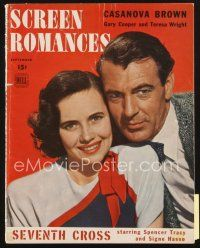 3r098 SCREEN ROMANCES magazine September 1944 Gary Cooper & Teresa Wright in Casanova Brown!