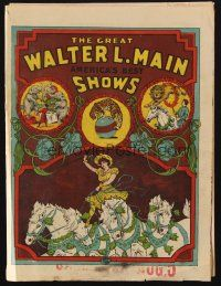 3t282 WALTER L. MAIN SHOWS circus program 1890s wonderful artwork of acts & animals!