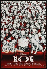 3y001 101 DALMATIANS teaser DS 1sh '96 Walt Disney live action, dogs in theater!