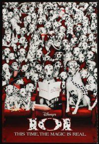 3y002 101 DALMATIANS int'l teaser 1sh '96 Walt Disney live action, dogs in theater!