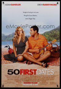 3y015 50 FIRST DATES advance 1sh '04 wacky Adam Sandler & Drew Barrymore on beach!