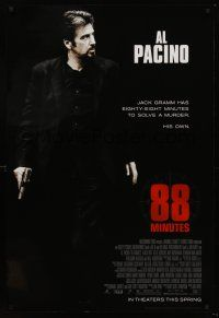 3y018 88 MINUTES advance DS 1sh '08 Al Pacino has to solve his own murder before it happens!