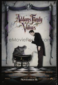 3y023 ADDAMS FAMILY VALUES advance DS 1sh '93 great image of Lurch with baby carriage!