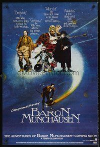 3y026 ADVENTURES OF BARON MUNCHAUSEN teaser 1sh '88 directed by Terry Gilliam, great artwork!