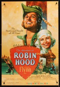 3y028 ADVENTURES OF ROBIN HOOD video 1sh R03 Errol Flynn as Robin Hood, De Havilland, Rodriguez art!