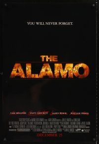3y032 ALAMO advance 1sh '04 Billy Bob Thornton as Davy Crockett, Dennis Quaid, Texas history!