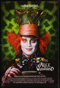 3y034 ALICE IN WONDERLAND IMAX advance DS 1sh '10 Tim Burton, Johnny Depp as the Mad Hatter!