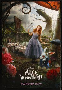 3y036 ALICE IN WONDERLAND teaser DS 1sh '10 Tim Burton, Mia Wasikowska in title role!