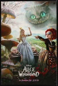 3y035 ALICE IN WONDERLAND teaser DS 1sh '10 Tim Burton, Helena Bonham Carter as Red Queen!
