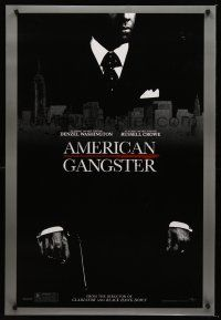 3y042 AMERICAN GANGSTER teaser DS 1sh '07 close-up of Denzel Washington, Ridley Scott directed!