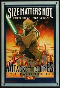 3y051 ATTACK OF THE CLONES IMAX style A DS 1sh '02 Star Wars Episode II, McMacken art of Yoda!