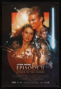 3y052 ATTACK OF THE CLONES style B DS 1sh '02 Star Wars Episode II, Christensen & Natalie Portman!