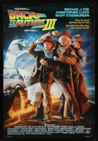 3y059 BACK TO THE FUTURE III DS 1sh '90 Michael J. Fox, Chris Lloyd, Zemeckis, Drew Struzan art!