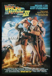 3y058 BACK TO THE FUTURE III DS advance 1sh '90 Michael J. Fox, Chris Lloyd, Zemeckis, Drew Struzan!
