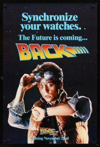 3y057 BACK TO THE FUTURE II teaser DS 1sh '89 Michael J. Fox as Marty, synchronize your watch!