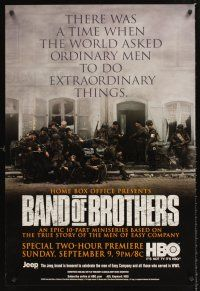 3y061 BAND OF BROTHERS TV advance 1sh '01 Damian Lewis, Donnie Wahlberg