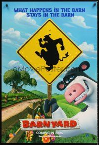 3y064 BARNYARD teaser 1sh '06 Kevin James & Courteney Cox, Nickelodeon farm animals!