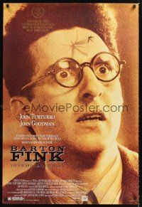 3y065 BARTON FINK 1sh '91 Coen Brothers, wacky c/u of John Turturro with mosquito on forehead!