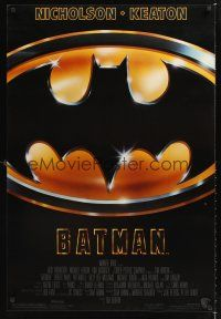 3y067 BATMAN 1sh '89 Michael Keaton, Jack Nicholson, directed by Tim Burton!