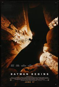 3y071 BATMAN BEGINS advance DS 1sh '05 Christian Bale as the Caped Crusader flying w/bats!