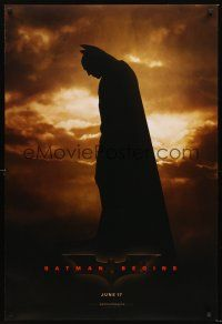 3y072 BATMAN BEGINS teaser DS 1sh '05 great image of Christian Bale as the Caped Crusader!