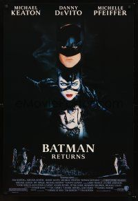 3y074 BATMAN RETURNS 1sh '92 Michael Keaton, Danny DeVito, Michelle Pfeiffer, Tim Burton