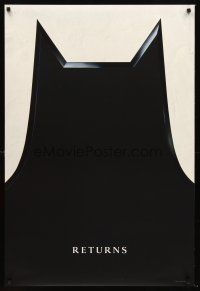 3y076 BATMAN RETURNS teaser DS 1sh '92 cool image of batman's cowl!