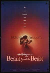 3y079 BEAUTY & THE BEAST 1sh '91 Walt Disney cartoon classic, romantic art!