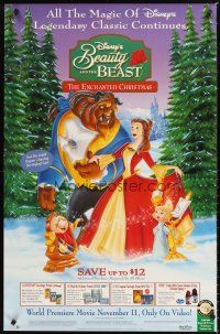 3y080 BEAUTY & THE BEAST: THE ENCHANTED CHRISTMAS video advance 1sh '97 Robby Benson!