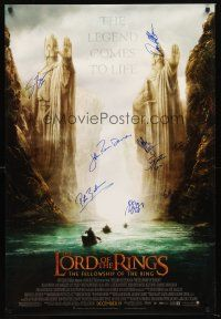 3z286 LORD OF THE RINGS: THE FELLOWSHIP OF THE RING signed DS advance 1sh '01 by Peter Jackson + 8!