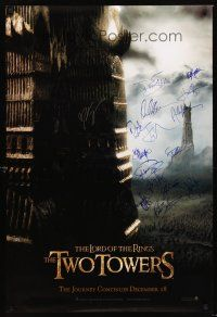 3z290 LORD OF THE RINGS: THE TWO TOWERS signed DS teaser 1sh '02 by Peter Jackson + 14 top stars!