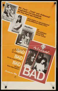 4b035 ANDY WARHOL'S BAD German 12x19 '77 Carroll Baker, Perry King, sexploitation black comedy!