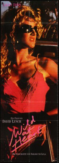 4b017 WILD AT HEART 2pc German poster '90 David Lynch directed, image of sexiest Laura Dern!